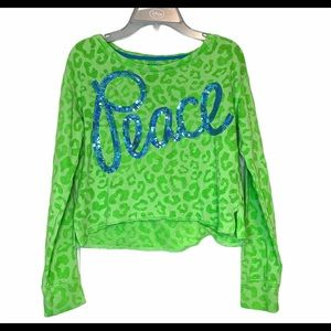 Justice Size 12 Neon Green Sequin Peace Shirt